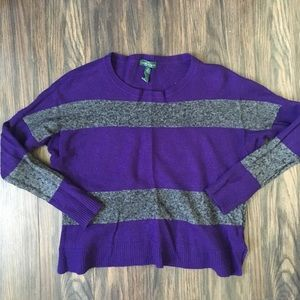 Gray and Purple Stripped Sweater